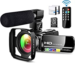 Ultra HD Video Camera Camcorder with Powerful Microphone 1080P Vlogging Camera Recorder 3.0 Inch IPS Screen 16X Zoom Camco...