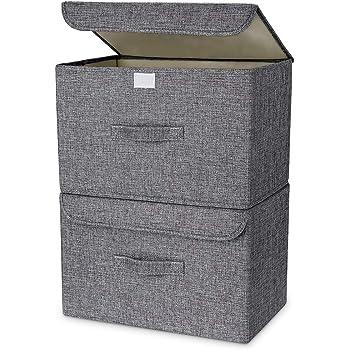 DIMJ 収納ボックス 収納ケース ふた付き 折り畳み 防塵 大容量 綿麻 衣類 おもちゃん 書類 2点セット (グレー)