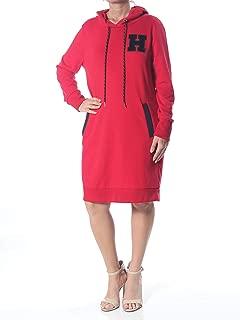 Womens Logo Casual Sweatshirt Dress Red L