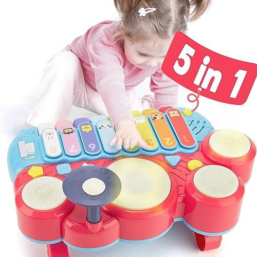 CubicFun Instrumentos Musicales Juguetes Bebes 1 año Piano Infantil Juego Tambor Teclado Piano y Xilófono Set, Juguet...