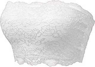 TL Women's Full Floral Lace Active Base Strapless Bandeau Tube Bra Top