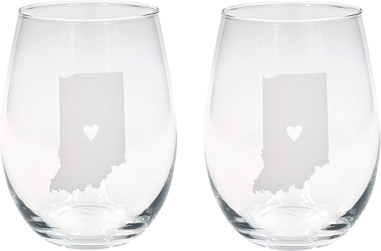 About Face Designs Stemless Set 188445 INDIANA WINE GLASS 16 Oz Clear