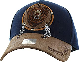 Native American Pride Bear Feather Baseball Adjustable Hat Cap Navy
