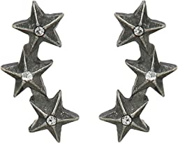 Three Star Casted Stone Post Earrings