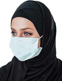 وشاح رأس من القطن، حجاب أسود فوري مع أزرار للقناع، جاهز لارتداء إكسسوارات الإسلامية للنساء
