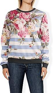 Rainbow Rules Antique Striped Floral Womens Sweatshirt