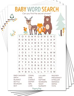 Baby Word Search Game Cards (Pack of 50) - Baby Shower Games Ideas for Boy or Girl - Party Activities Supplies - Woodland