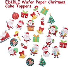 GEORLD 48 Pcs Wafer Edible Christmas Paper Party Cake & Cupcake Toppers Decoration