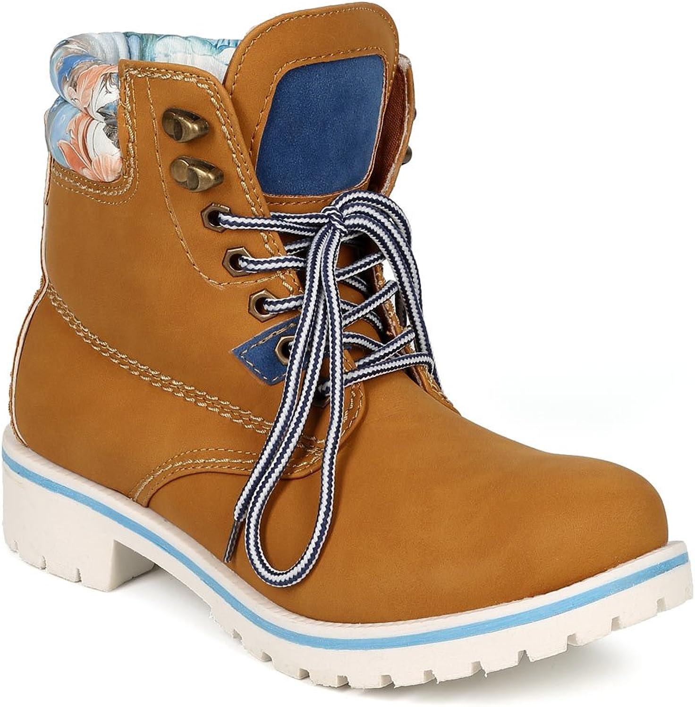 Women Leatherette Lace Up Two Tone Lug Boot CG74 - Wheat bluee