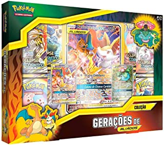 ٩(●ᴗ●)۶ Box Pokémon Coleção Geração de Aliados Charizard e Braixen-GX, Venusaur e Snivy-GX Copag ٩(●ᴗ●)۶ SUIKA ٩(●ᴗ●)۶