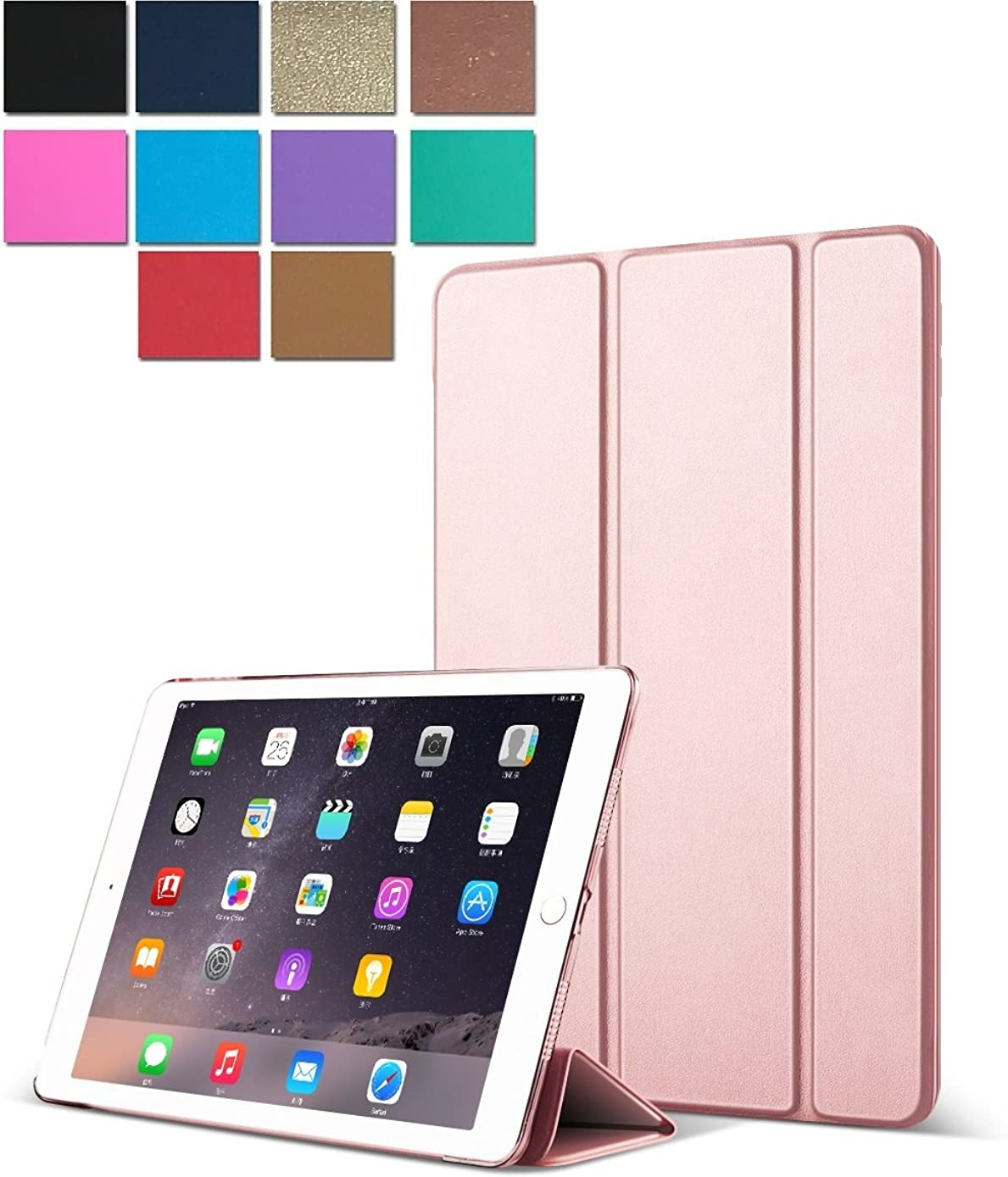 DuraSafe Cases for iPad PRO 12.9 Inch 1 Gen - 2015 [ A1584 A1652 ] Smart Cover with Translucent Back - Rose Gold (Trifold)