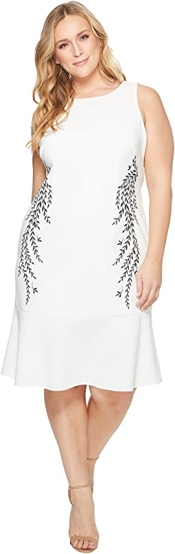 Plus Size Knit Crepe Embroidered Trumpet Dress