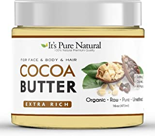 It's Pure Natural Unrefined Raw Organic Cocoa Butter (16 oz) - 100% Pure & Natural Body Moisturizer for Skin – Dry Skin Treatment - Use on Body, Face, Lips, Hair & in DIY Skin Care Recipes