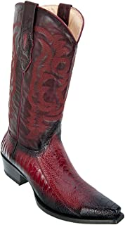 Men's Sinp Toe Genuine Leather Ostrich Western Boots - Ostrich Leg Exotic Skin Boots