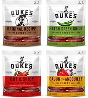 Peaceful Squirrel Variety, Duke's, Shorty Smoked Sausages Variety of 4 (Original, Hatch Green Chile, Hot & Spicy, Cajun Style Andouille) - 5 Ounce