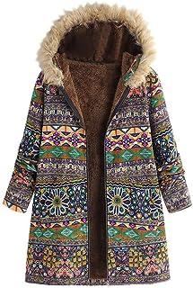 Abrigo con Capucha Moda Mujer Invierno Bolsillo Cremallera Manga Larga Felpa Abrigo de algodón