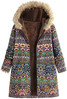 JOFOW Womens Jacket Coats Floral Print Boho Ethnic Vintage Hooded Faux Fur Collar Warm Padded Long Loose Parka Plus Size 3XL