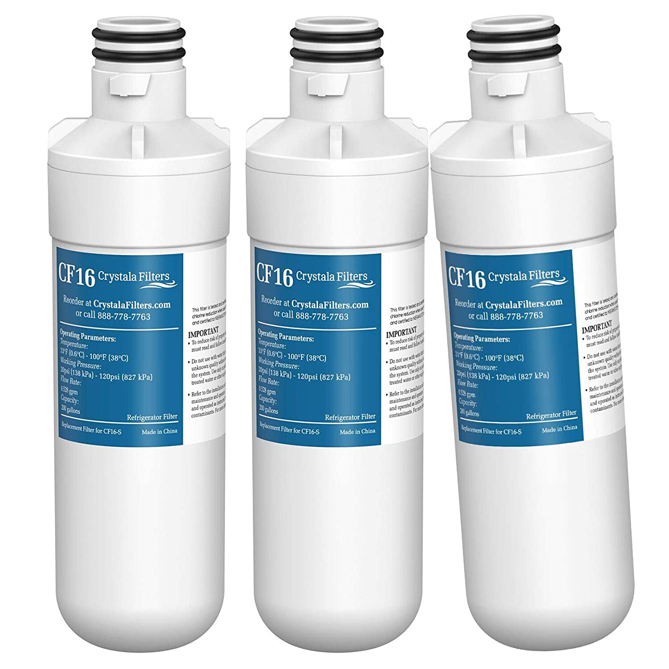 LT1000P Refrigerator Water Filter, Compatible with LG LT1000P, LT1000P, LT1000PC, MDJ64844601, ADQ74793501, ADQ74793502, Kenmore 46-9980, 9980, by Crystala Filters, 3 PACK