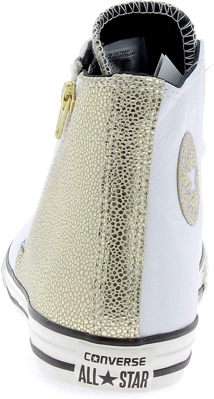 CONVERSE - Sneaker stringata bianca e dorata, in pelle, con ...