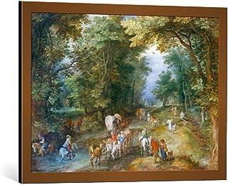 Kunst für Alle Image encadrée: Jan Brueghel der Ältere Belebte Waldstrasse - Impression d'art décorative, en Cadre de Haut...
