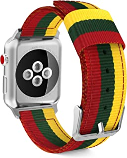 MoKo Compatible Band Replacement for Apple Watch 38mm 40mm Series 5/4/3/2/1, Fine Woven Nylon Adjustable Replacement Band Sport Strap - Yellow & Army Green & Red (Not fit 42mm 44mm Versions)