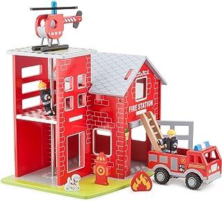 New Classic Toys - 11020 – Brandstation med brandbil, helikopter, brandman, räddningshund, branddisplay och brandpost