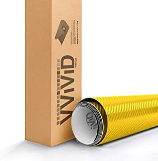 Yellow Carbon Fiber 60 Inches x 1 Foot Car Wrap Vinyl Roll with Air Release 3MIL-VViViD8