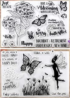 Kwan Crafts 2 Sheets Different Style Happy Birthday Anniversary Butterfly Flowers Fairy Wishes Clear Stamps for Card Making Decoration and DIY Scrapbooking