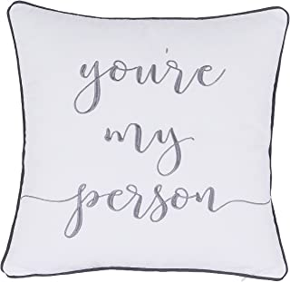 ADecor Pillow Covers You are my person Pillowcase Embroidered Pillow cover Decorative Pillow Standard Cushion Cover Gift Love Couple Wedding P335 (18X18, Ivory)