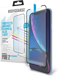BodyGuardz - Pure 2 EyeGuard Glass Screen Protector Blue Light Edge-to-Edge Glass Protector for Apple iPhone Xs Max - CASE Friendly