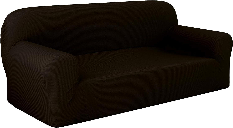 Dreamzie - Fundas Sofa Elasticas 3 Plazas - 60% Algodón Reciclado - Certificada Oeko-Tex® sin Productos Químicos - Fabricada en España - Marrón