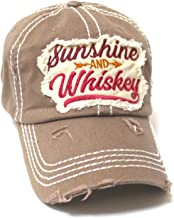 Women's Ballcap Sunshine and Whiskey Tribal Arrow Patch Embroidery Hat, Copper Brown