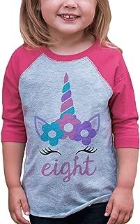 Kids Eighth Birthday Unicorn Raglan Tee Pink