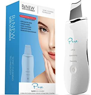 ReNew Skin Scrubber Professional Sonic Facial Exfoliation Device - Oil Dirt Blackhead Remover - Dermabrasion Facial Peel - Clean & Brighten Oily Pores - Blackhead Remover Kit - Skin Tightening