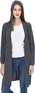 Women's Open Front Long Cardigan 100% Cashmere Straight Hem Oversized Sweater-Coat