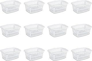Sterilite 12458012 1.5 Bushel/53 Liter Rectangular Laundry Basket, White, 12-Pack