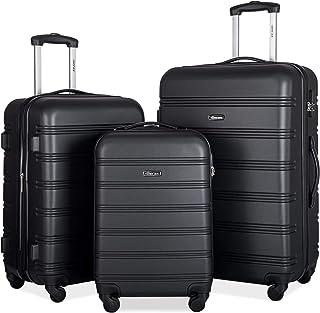 Merax 3 Pcs Luggage Set Expandable Hardside Lightweight Spinner Suitcase (Classic Black)
