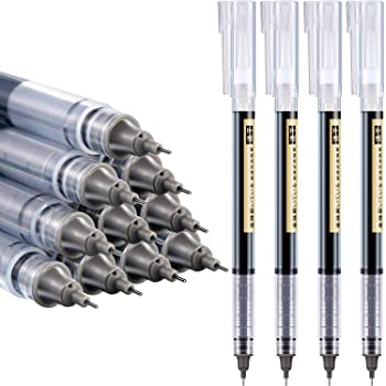 12 Pieces Rolling Ball Pens, Quick-Drying Ink 0.5 mm Extra Fine Point Pens Liquid Ink Pen Rollerball Pens (Black Ink)