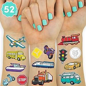 xo, Fetti Car + Transportation Party Supplies Temporary Tattoos - 50 Metallic Styles   Helicopter Birthday, Train, Bus, Boat, Racecar, + Truck