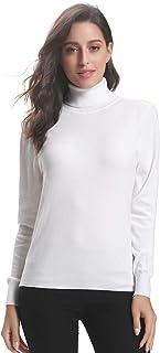 Abollria Women's Ribbed Turtleneck Long Sleeve Sweater Tops