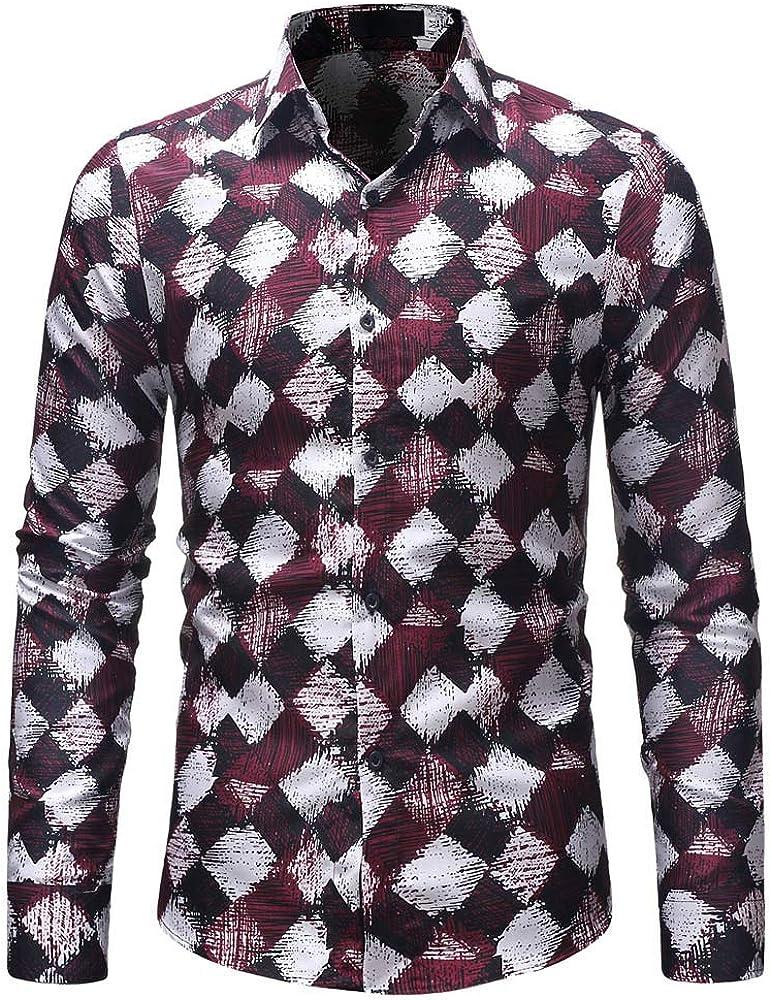 MODOQO Men's Regular Fit Long-Sleeve Casual Shirt Lapel Collar Casual Button Down Shirts