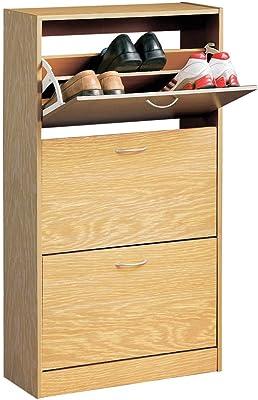 Premier Housewares Armoire à chaussures Placage chêne 3 tiroirs 117 x 63 x 24 cm
