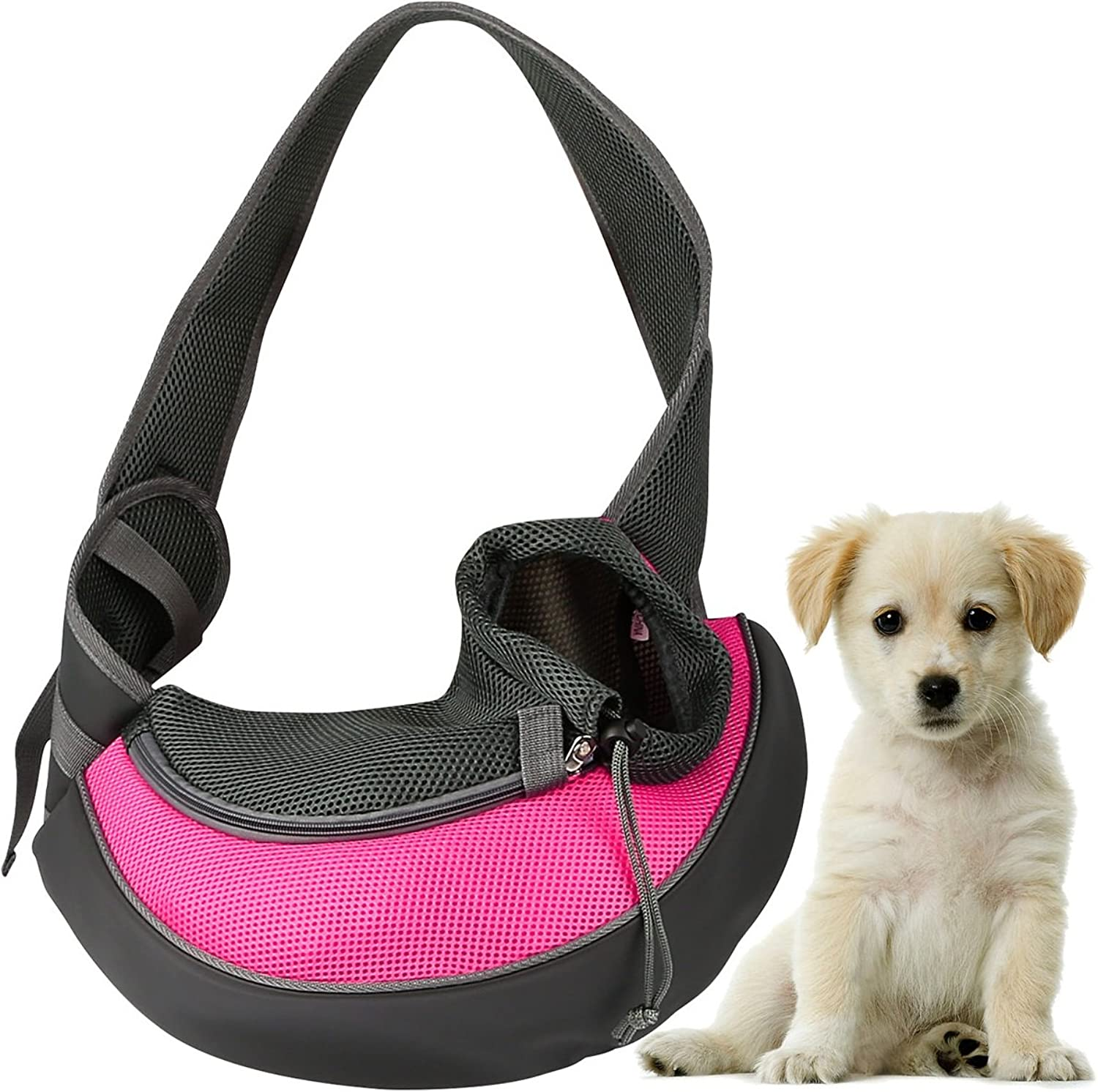 GPCT Pet Puppy Carrier Sling HandsFree Shoulder Travel Bag. Great for Walking Your Pet. Dog Cat Pet Puppy Outdoor Reversible Pouch Mesh Shoulder Carry Bag Tote Handbag Carrier (Pink Large)