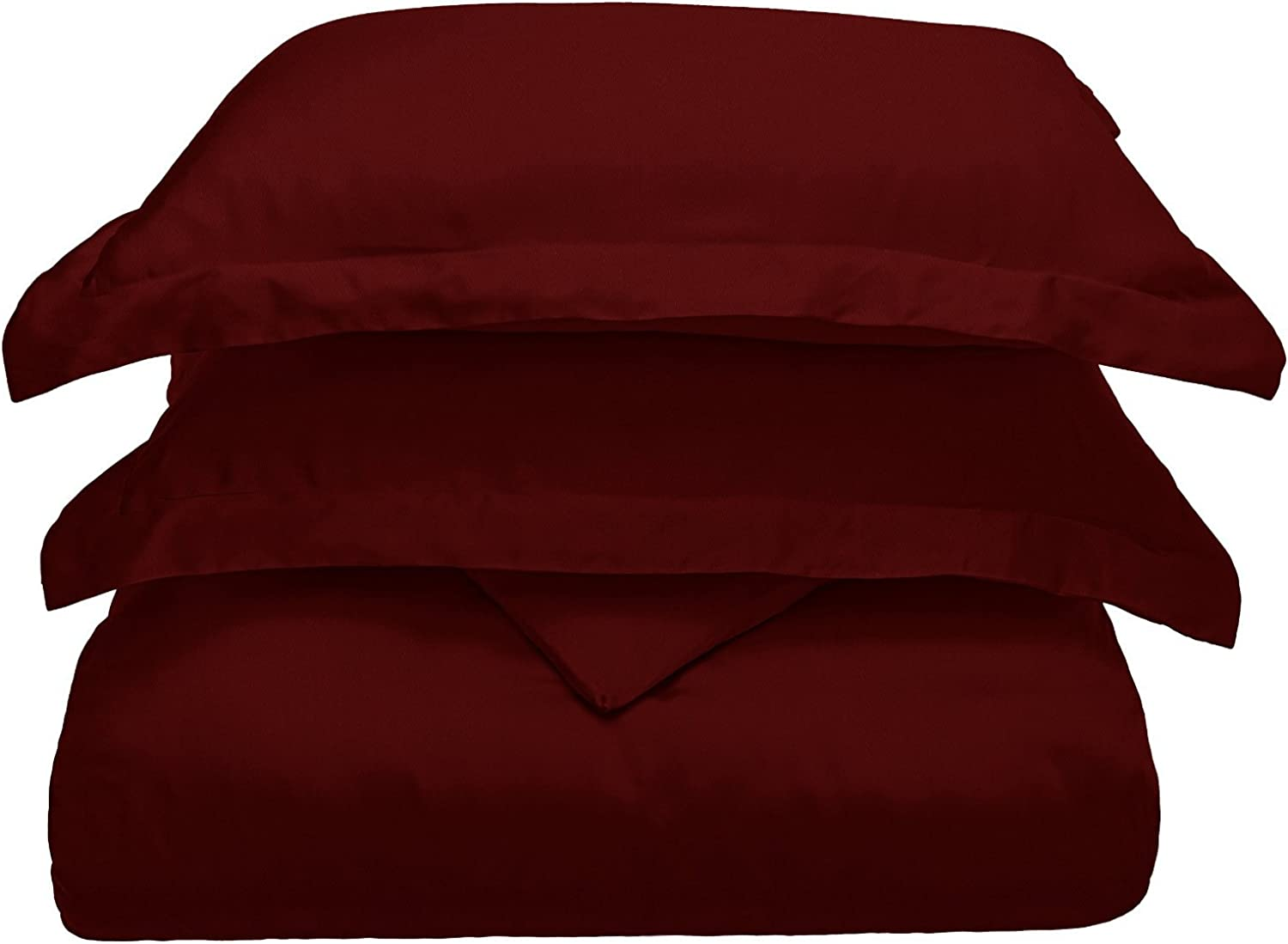Superior 300 Thread Count Full Queen Duvet Cover Set, 100% Modal from Beech, Solid, Burgundy