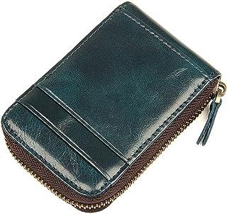 حامل بطاقات للرجال من الجلد RFID جراب بطاقات أكورديون محفظة للنساء من Fmeida
