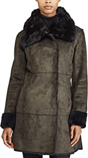 LAUREN RALPH LAUREN Women's Asymmetric Paneled Faux Shearling Jacket Green XS