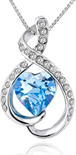 OLYSHE Necklace Pendant for Women Blue Swarovski Jewelry Anniversary, Birthday Girl Gift