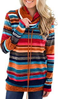 Women Cowl Neck Striped/Color Block/Solid Long Sleeve Drawstring Pullover Top Sweatshirt with Pockets