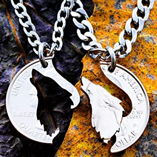 Howling Wolf necklace, His and Hers matching Couples jewelry, hand cut coin, By NameCoins