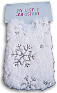 My Little Christmas ''Snow & Ice'' White with Sparkly Silver Snowflakes Christmas Tree Skirt - 12'' x 12''